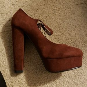 Moving sale! Faux suede brown platform Mary janes